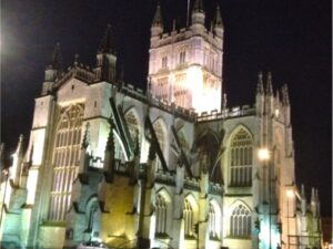 image of Bath Abbey at night