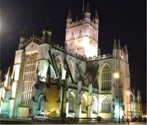 image of Bath Abbey at night